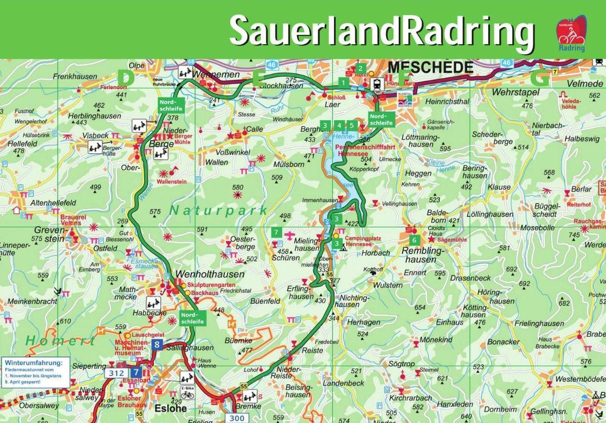 Sauerland Karte Berge.Sauerland Radring Hennesee Sauerland